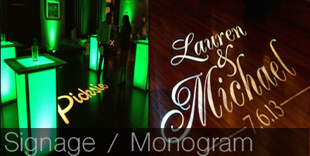 gobo pattern, digital signage, monogram